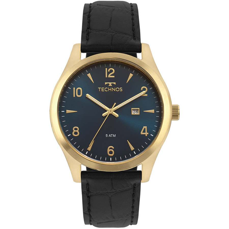 Relógio Technos Masculino Analógico Steel Classic Couro Preto 2115MRX/2A