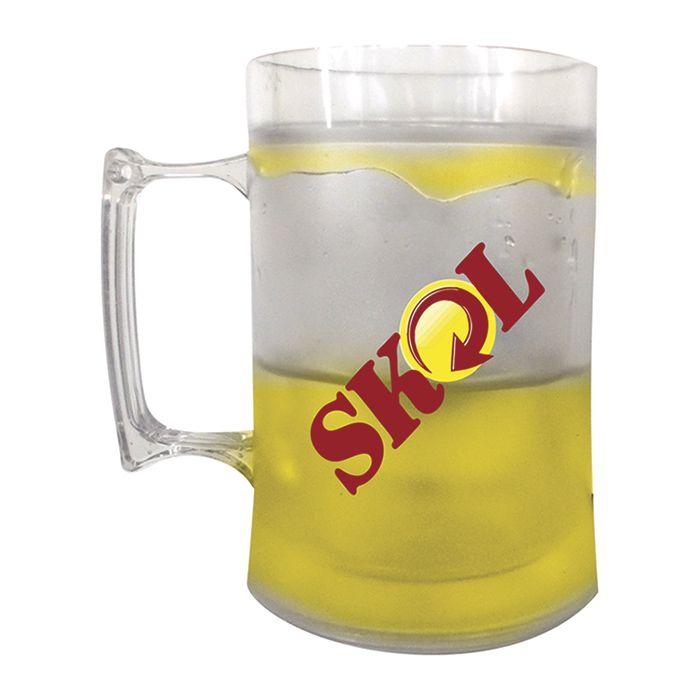 2 Caneca Chopp Cerveja Acrílico Gel Térmico Congela 430ml Skol