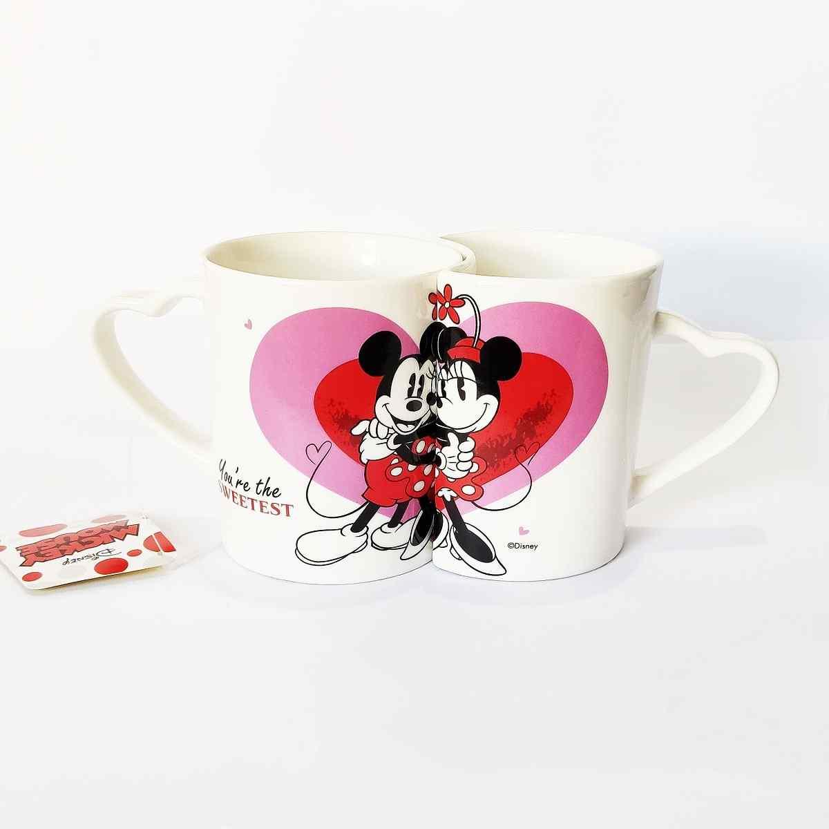 2 Canecas Porcelana Mickey e Minnie Namorados 200ml