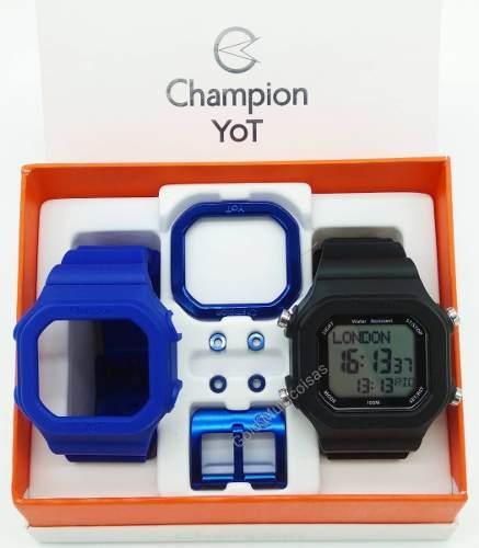 Relógio Champion Yot Troca Pulseira Preto Azul   CP40180X-81567