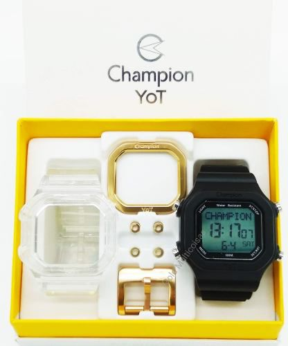 Relógio Champion Yot Unissex Troca Pulseira Preto Transparente Dourado Cp40180x-81229