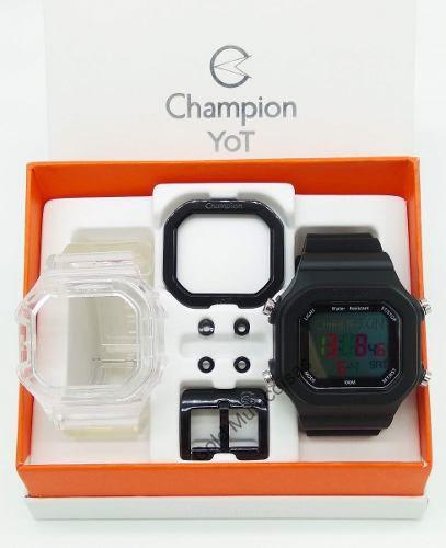 Relógio Champion Yot Unissex Troca Pulseira Preto  CP40180X-82281