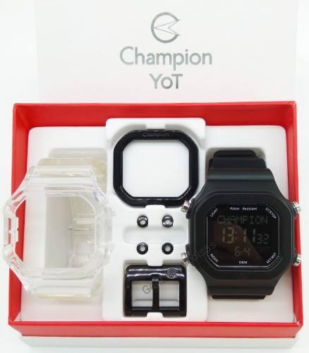 Relógio Champion Yot Unissex Troca Pulseira Preto Transparente Cp40180x-81367