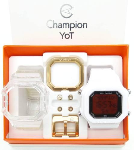 Relógio Champion Yot Unissex Troca Pulseira Branca Transparente Fundo Vermelho  Cp40180x-93038