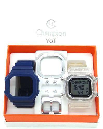 Relógio Champion Yot Unissex Troca Pulseira Azul Transparente Prata Cp40180x-82207
