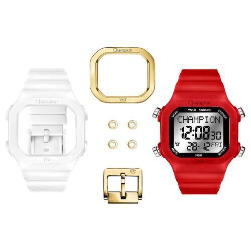 Relógio Champion Yot Unissex Troca Pulseira Vermelho Transparente  Cp40180x-81996