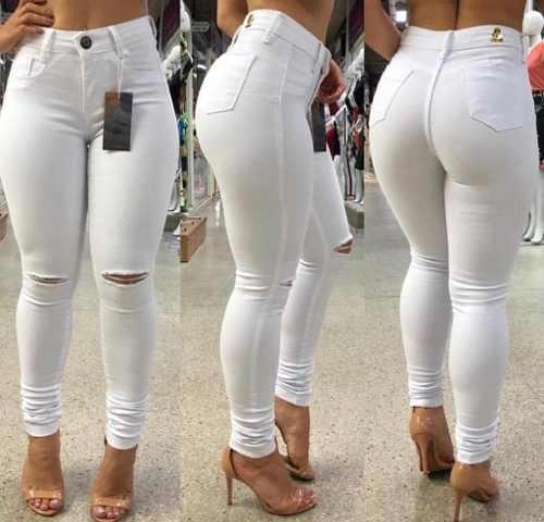 Calça Jeans Feminina Skinny Branca Com Lycra Corte No Joelho Catylaine