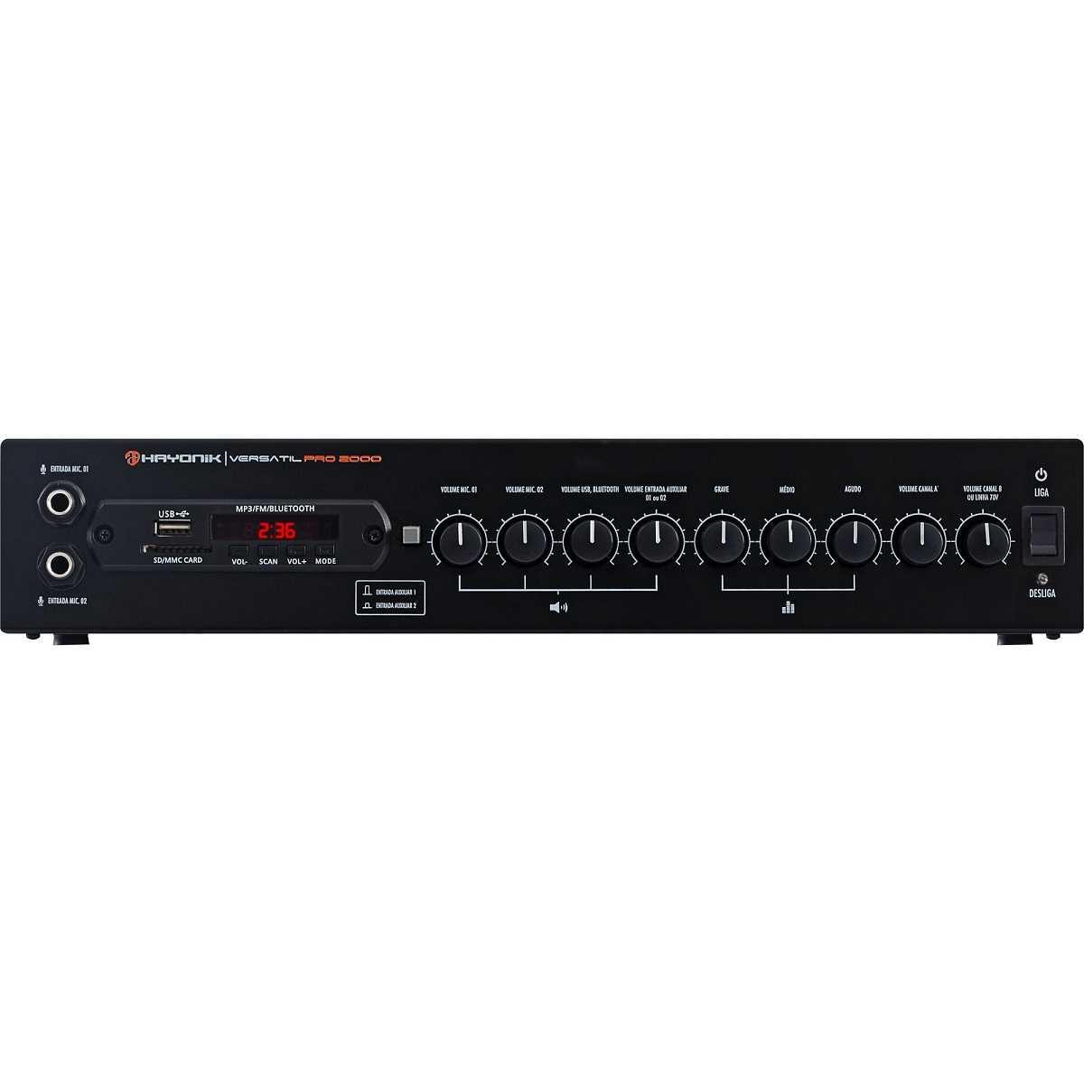 Amplificador PRO2000 200W RMS  USB/FM/Bluetooth HAYONIK