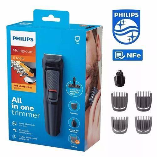 Aparador De Pelos Barba Philips Multigroom Series 3000 6 em 1 MG3711/15 Sem Fio - Bivolt