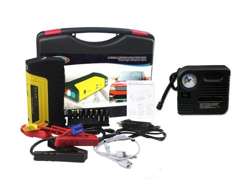 Auxiliar Partida Jump Starter Compressor Bateria Veicular Carro Moto 600a Bivolt