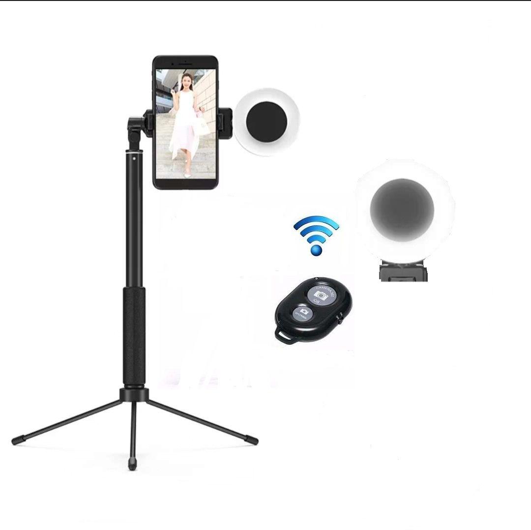 Bastão Pau De Selfie 1.70 Metro Tripé Bluetooth 3 em 1 Com Led Ring Ligth Tomate 059