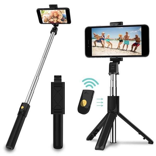 Bastão Pau De Selfie 68cm com Tripé Bluetooth Com Controle K07