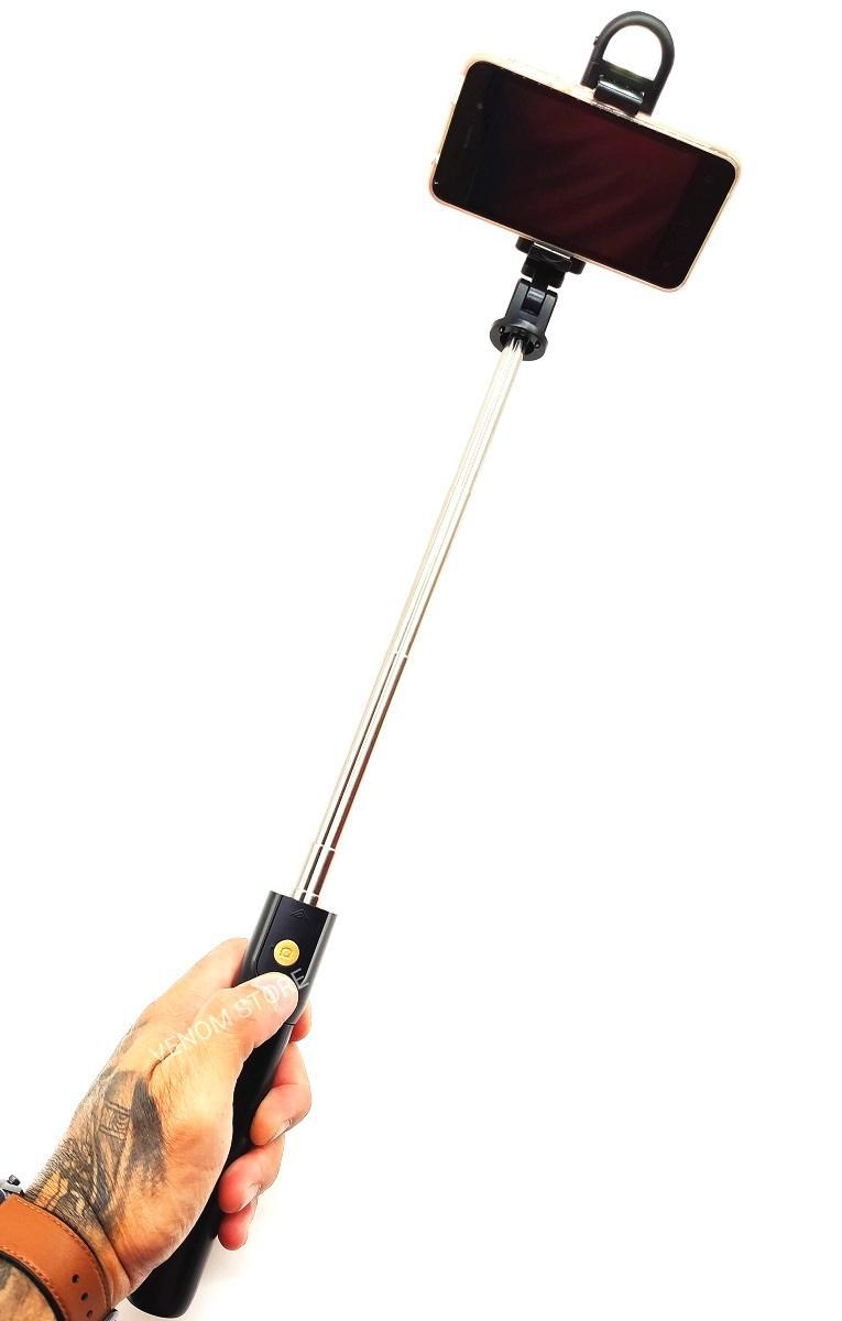 Bastão Pau De Selfie Bluetooth c/Controle 68cm + Tripé E Led  K10-S Preto