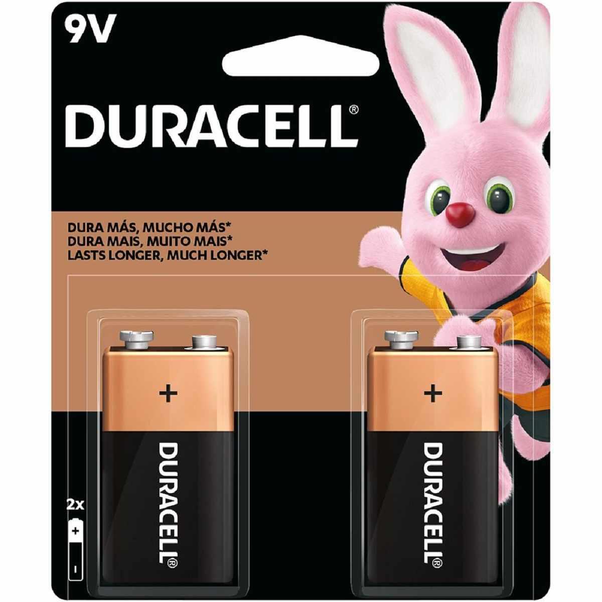 Bateria Duracell Alcalina 9V Cartela com 2 Unidade