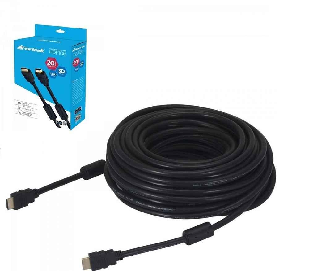 Cabo HDMI 1.4 3D Full HD C/Filtro 20 Metros Preto HDF-106/20M Fortrek