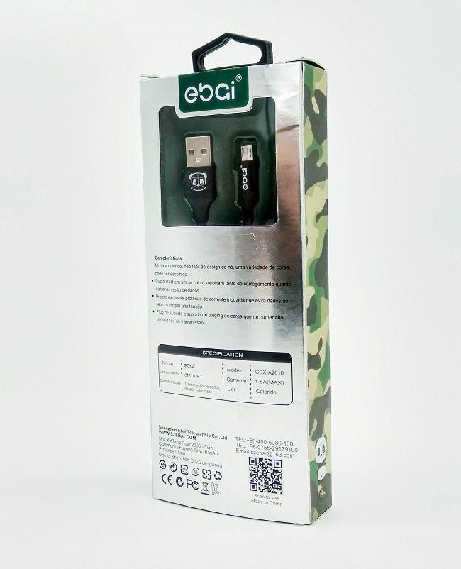 Cabo Micro USB V8 Revestido Tecido e Silicone 2.8 mt Ebai Original