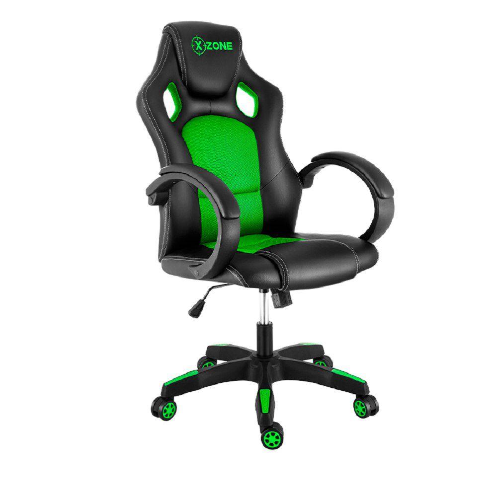 Cadeira Gamer Com Rodinhas Xzone CGR-02 Preto e Verde
