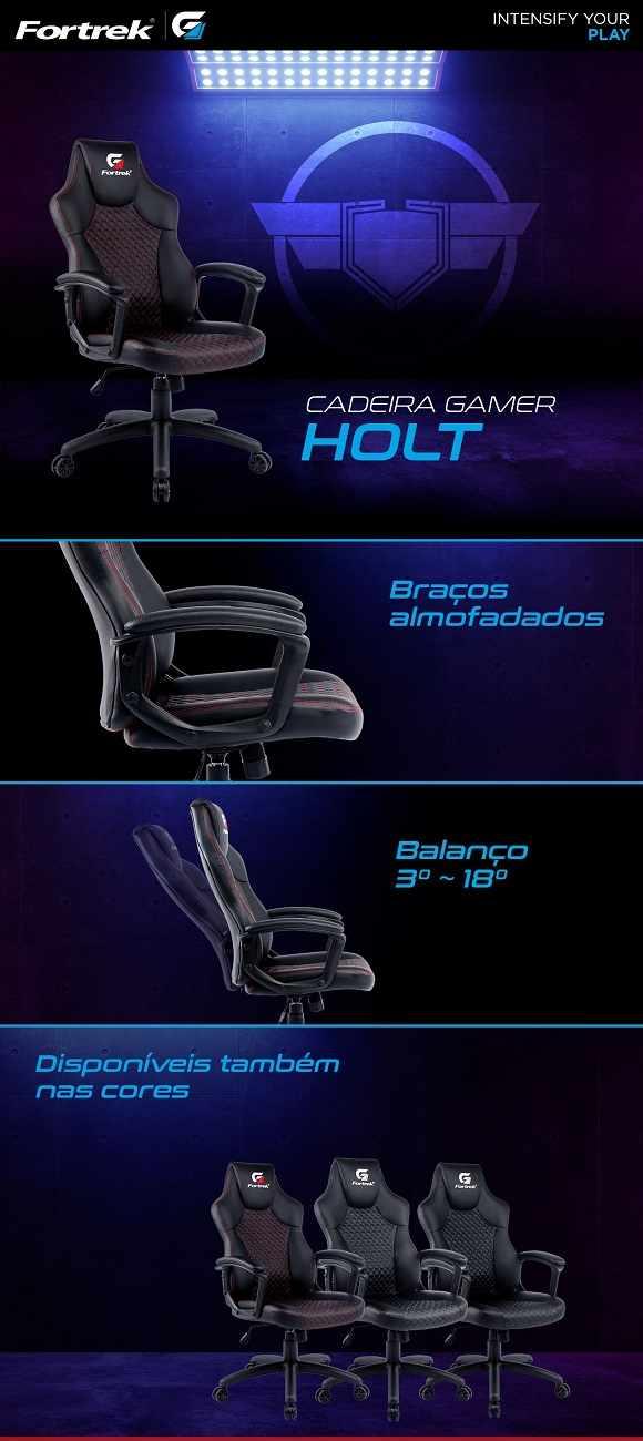 Cadeira Gamer Holt Giratória Com Rodinhas Fortrek