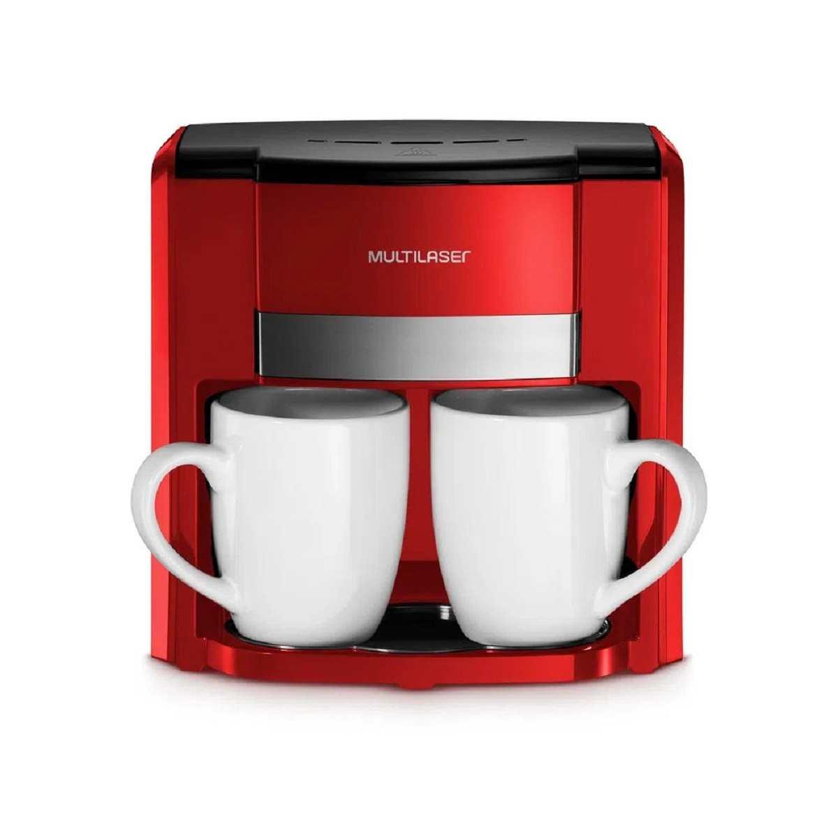 Cafeteira Elétrica C/ 2 Xícaras 127V Filtro Permanente Multilaser Vermelho