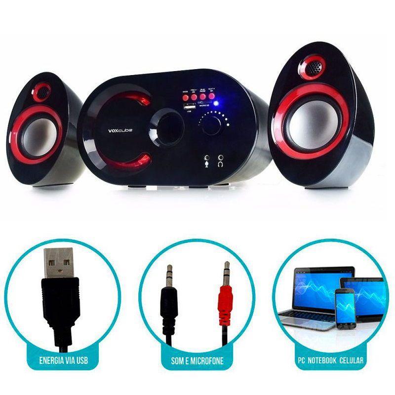 Caixa Som Bluetooth 18w Subwoofer Fm Sd Wireless 2.1 Canais  Vermelho
