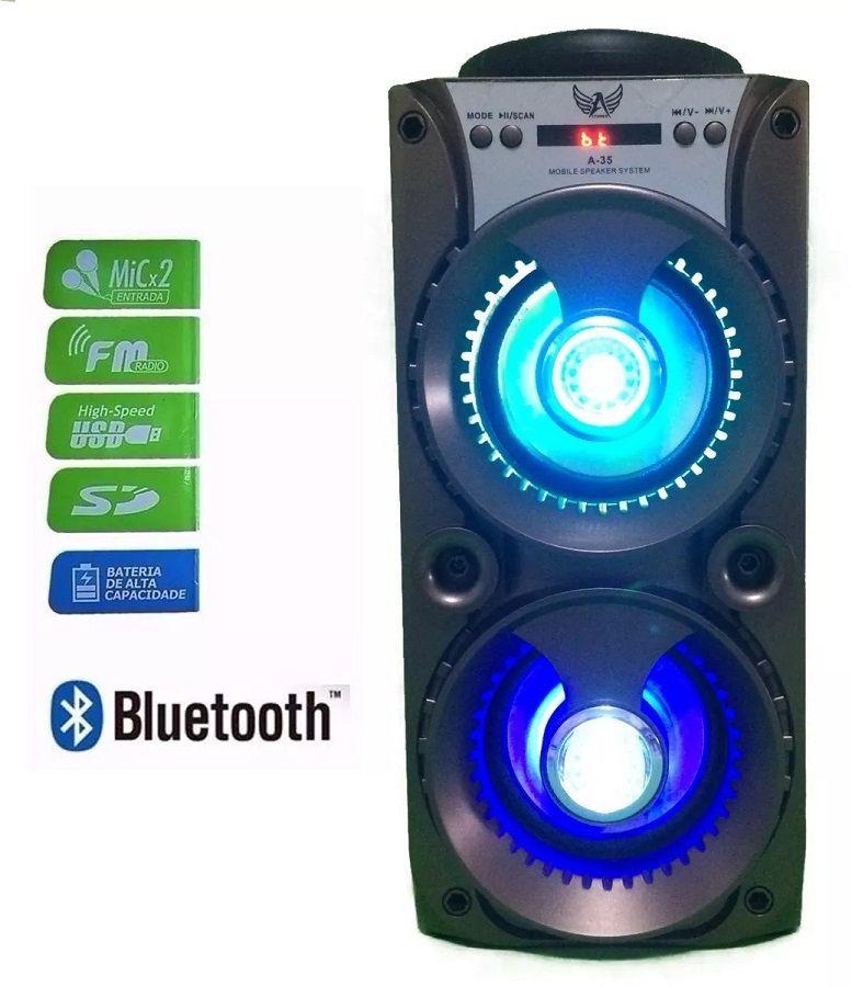 Caixa De Som Bluetooth Amplificado Fm Micro Sd Usb Led Rgb Altomex A-35