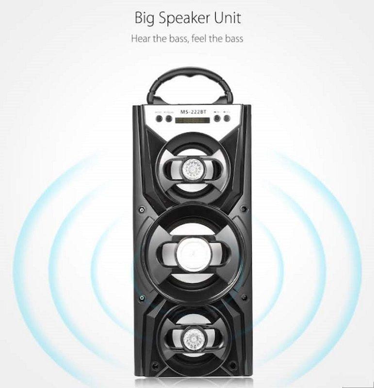 Caixa de Som Portátil 12W Bluetooth Fm Micro Sd Usb P2 Led Rgb  MS-222BT
