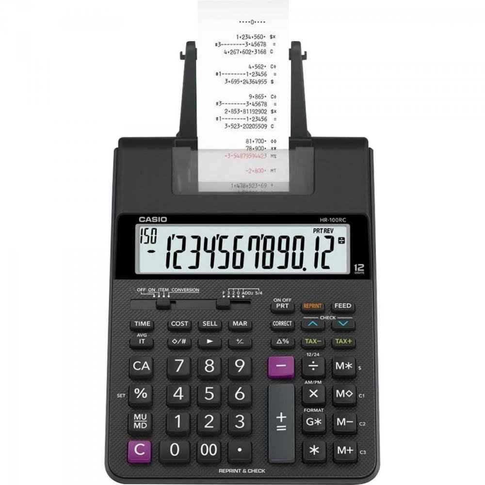 Calculadora Com Bobina 12 Dígitos + Fonte Bivolt HR-100RC Preta CASIO