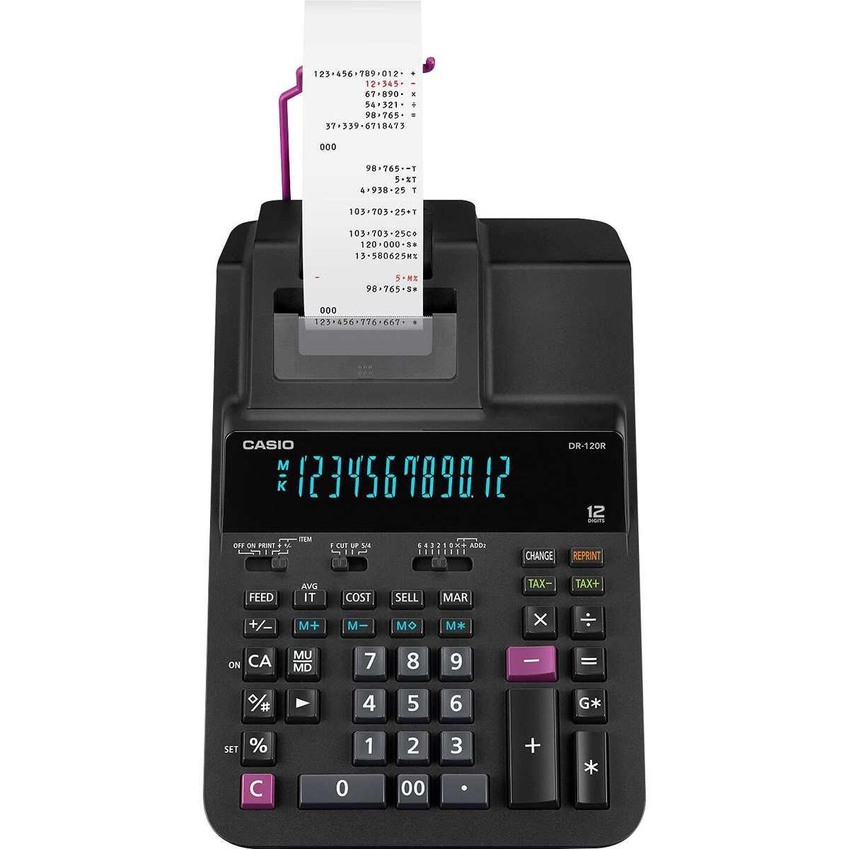 Calculadora De Mesa Com Bobina DR-120R-BK Preta Casio + Fonte Bivolt