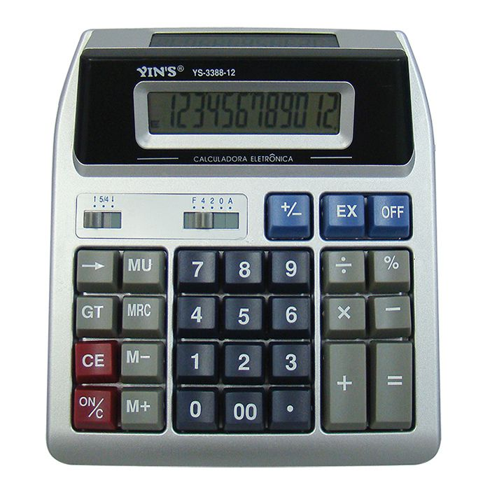 Calculadora Digital De Mesa Com 12 Dígitos Visor Duplo Yins Ys-3388-12