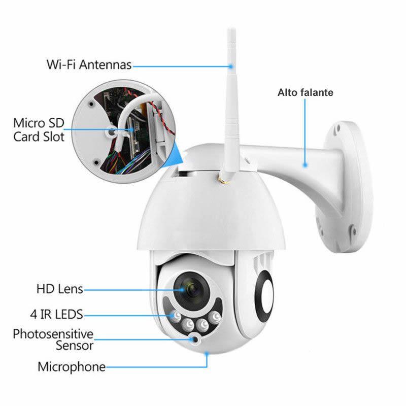 Câmera Ip Speed Dome Zoom 4x Mais Ptz Wifi Prova De Água Interna e Externa