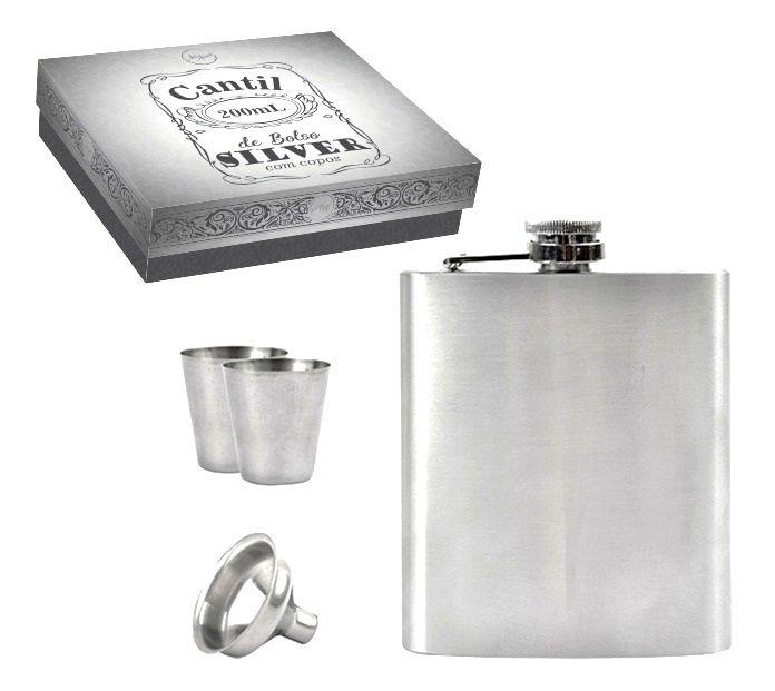 Cantil Garrafa 200m Em Inox Porta Bebida De Bolso 2 Copos E 1 Funil Zein
