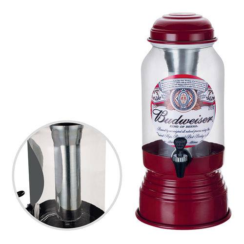 Chopeira Torre Cervejeira De Vidro 3,5 Litros  C/ Filtro Budweiser Refil Para Gelo