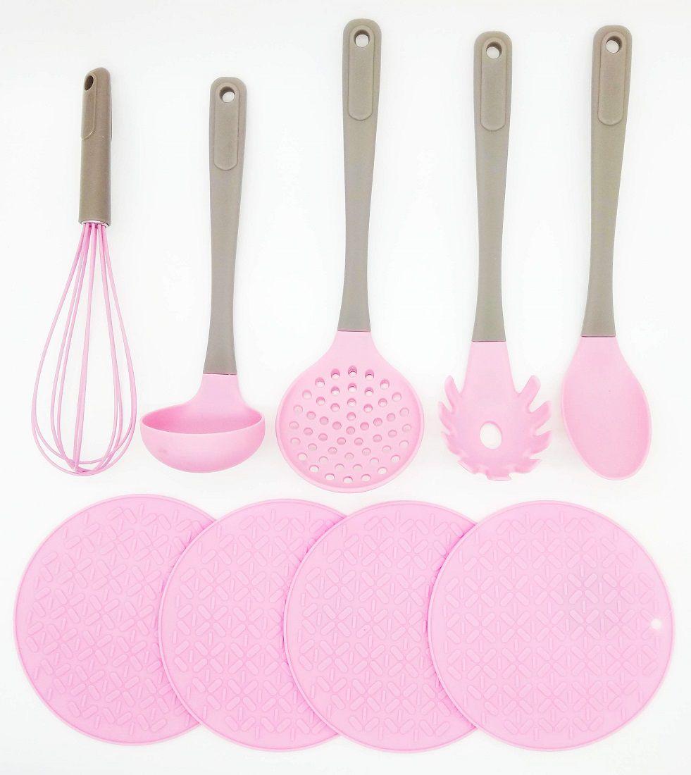 Conjunto 9 Peças Utensílios De Cozinha Silicone Candy Rosa