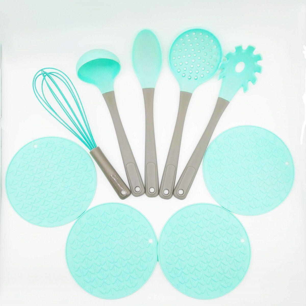 Conjunto 9 Peças Utensílios De Cozinha Silicone Candy Verde
