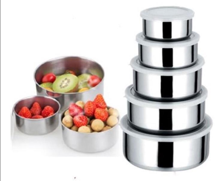 Conjunto De 5 Potes Em Aço Inox Com Tampa Kit Utilidade Doméstica Art House