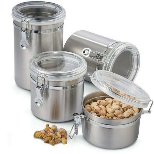Conjunto De Potes Para Mantimentos Herméticos Em Aço Inox 4 Peças Art House