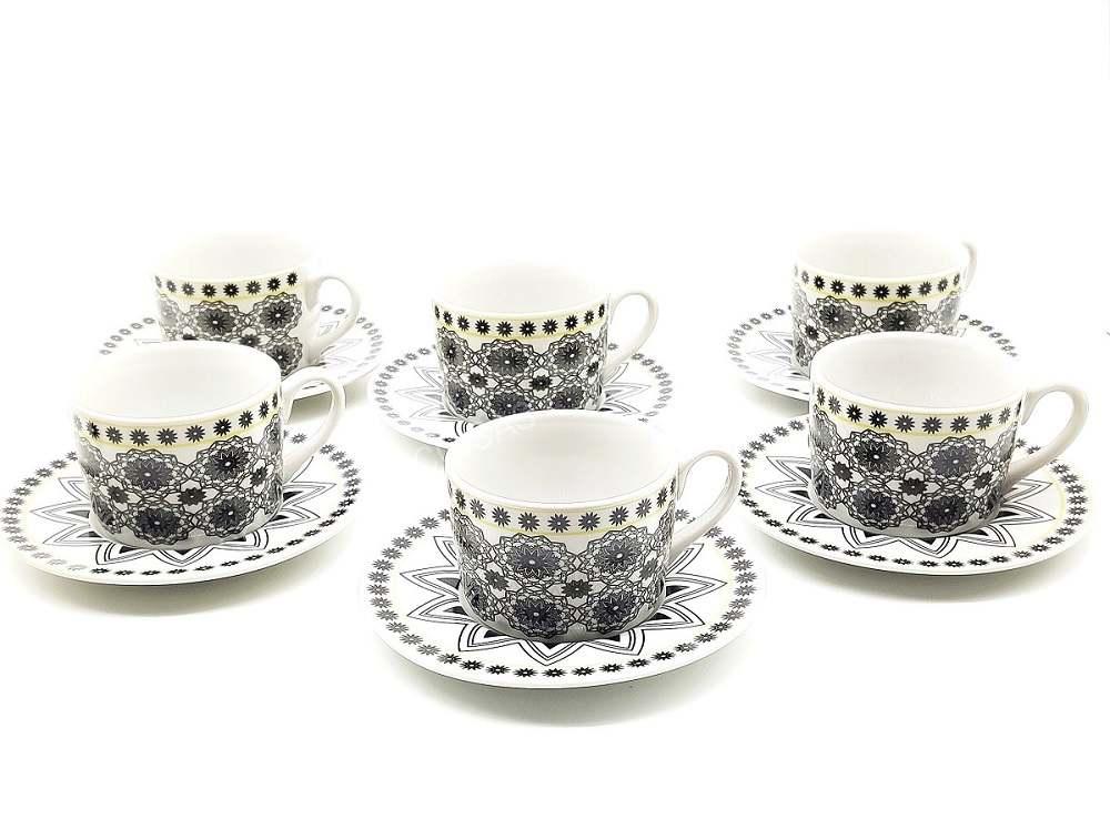Conjunto De Xícaras de Chá Com Pires 6 Pçs 200ml Bon Gourmet