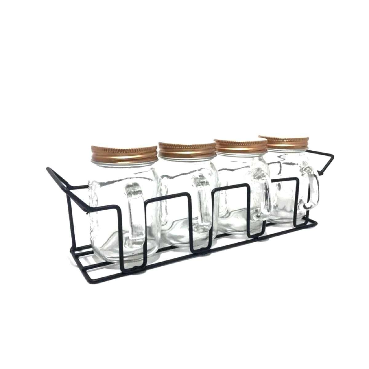 Conjunto Porta Condimentos Tempero De Vidro Com 4 Peças Mais Suporte Art House