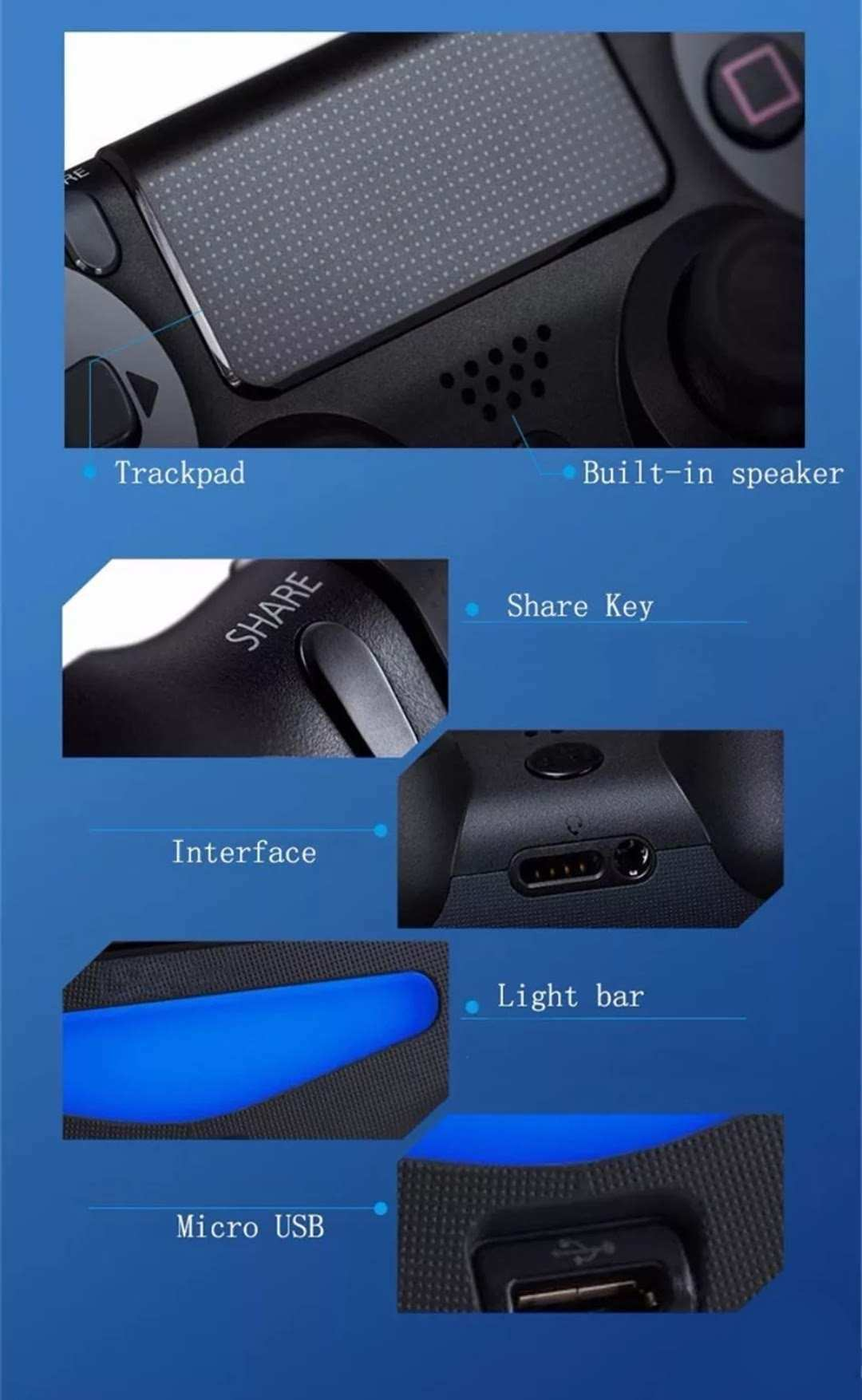 Controle Ps4 Sem Fio Joystick Pc Bluetooth Vibração Touch Camuflado