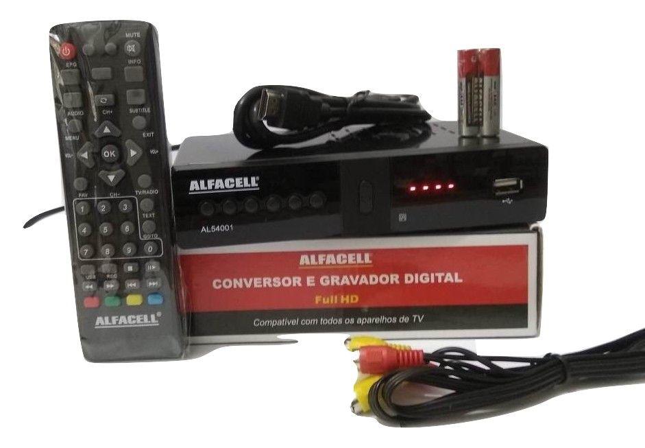 Conversor E Gravador 1080P Digital ISDB-T HDMI RCA Coaxial Recepção Terrestre VHF UHF Alfacell