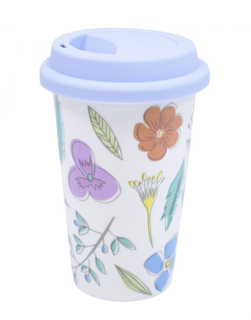 Copo Cerâmica Cup 450ml Flores Tampa Silicone Tomar Café