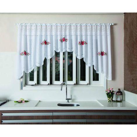 Cortina Cozinha Cascata Renda Branco 3,00x1,00m Floral Vermelha