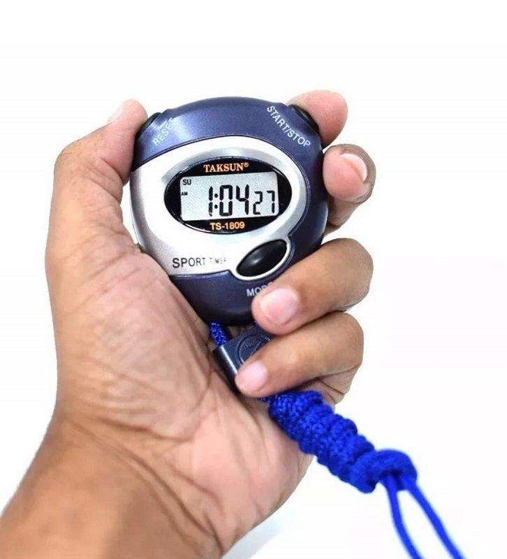 Cronômetro Progressivo Digital Relógio Alarme Data Hora Taksun Ts-1809 Azul