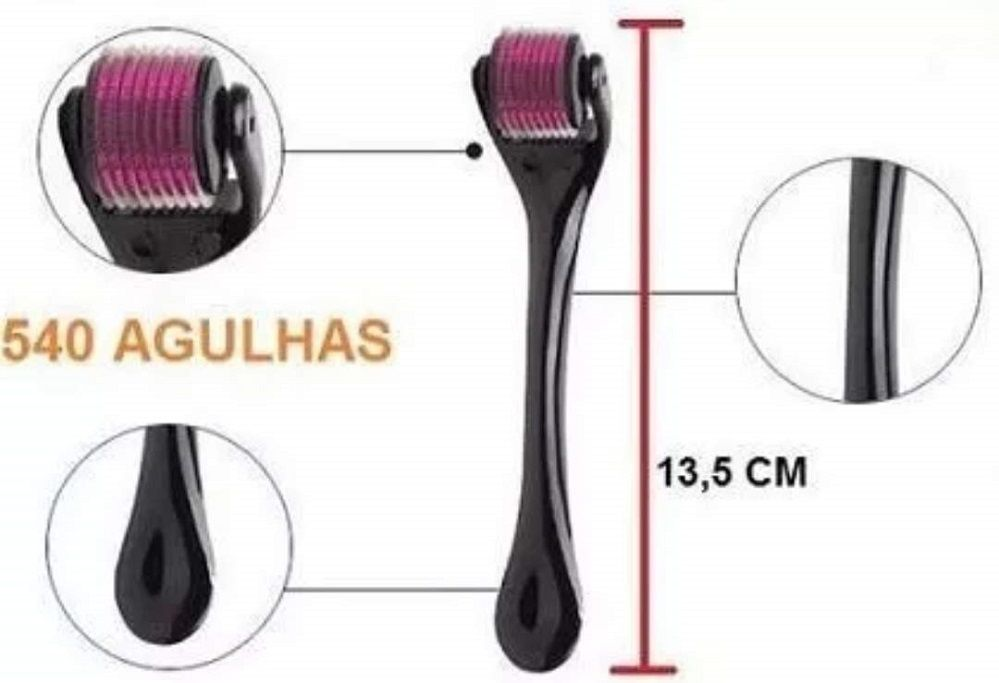 Derma Roller SYSTEM Micro Agulhamento 540 Agulhas 1,0MM