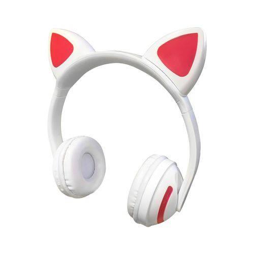 Fone De Ouvido Orelha Gato Led 7 Cor Bluetooth Headset Branco Exbom