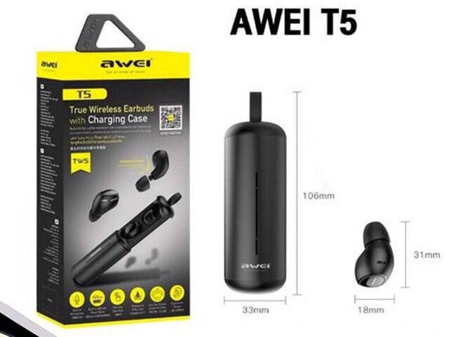 Fone Double Ear Bluetooth Wireless Com Case Carregador Awei T5