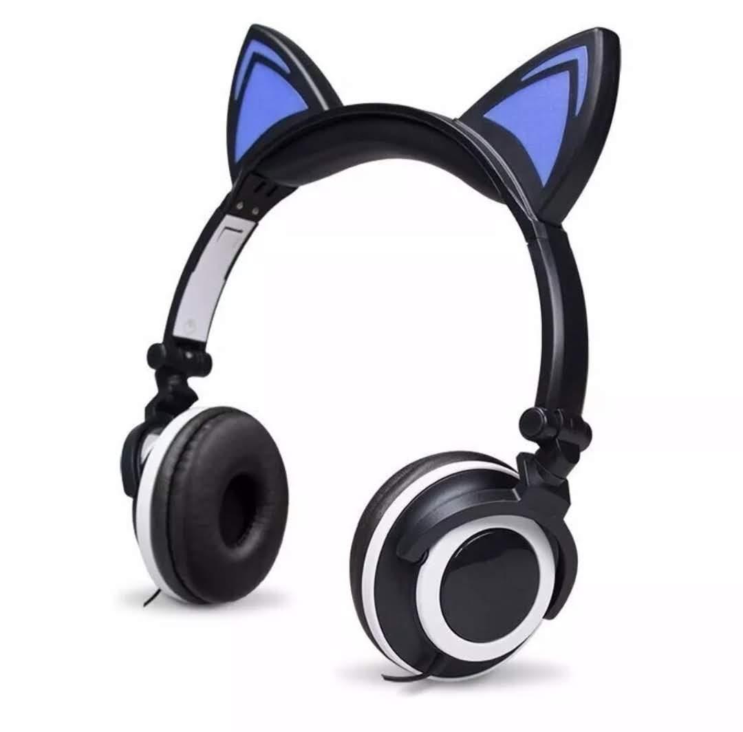 Headphone Orelha De Gato Fone Ouvido Com Luzes Preto Xtrad