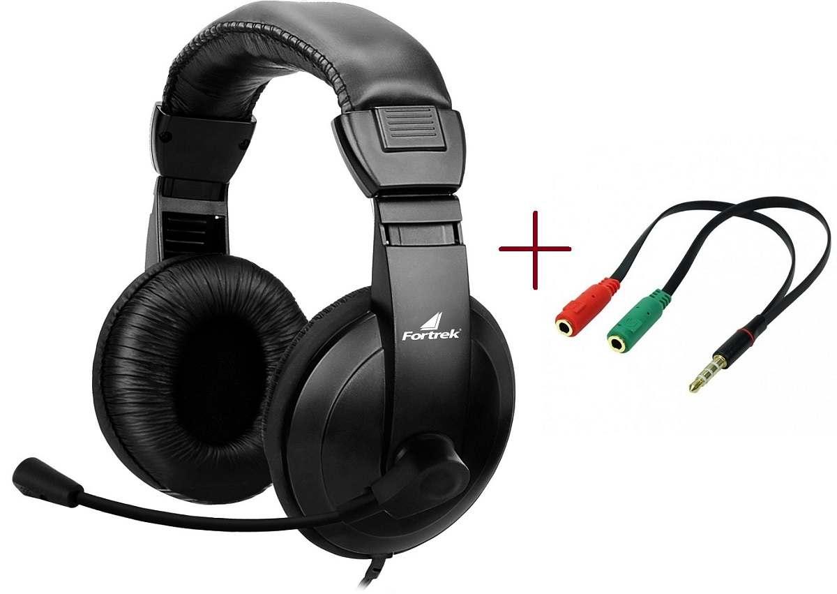 Fone Headset Com Microfone HSL-102 Fortrek + Adaptador P2