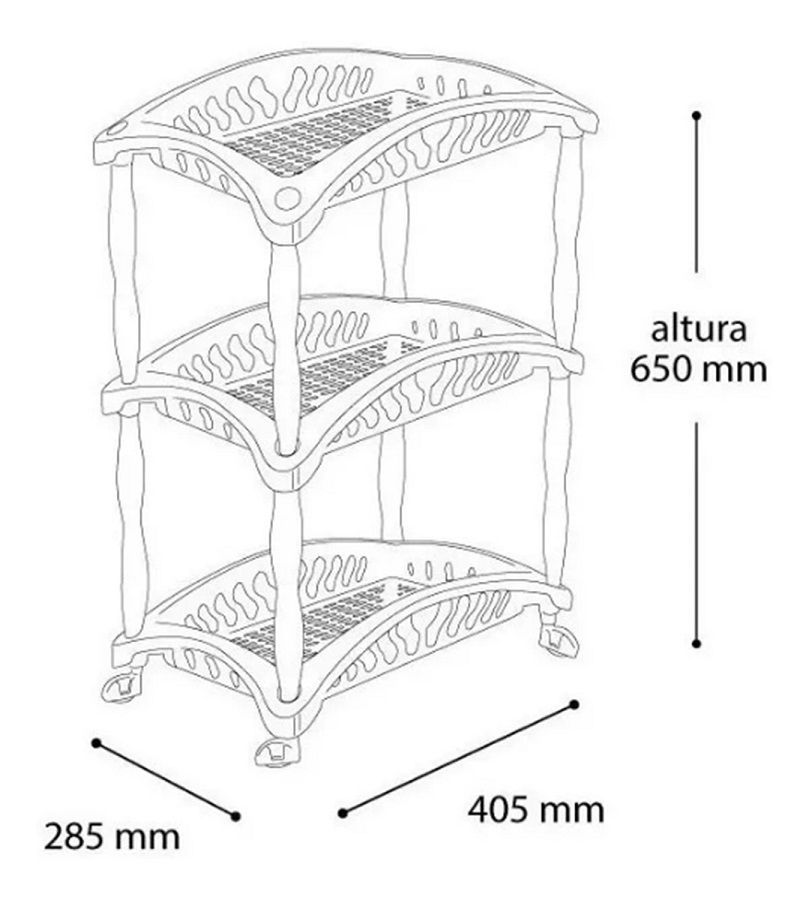 Fruteira Organizador Vertical Telada De Plástico Com 3 Andares