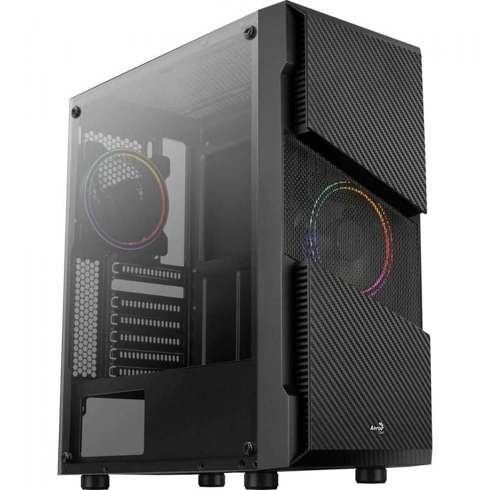 Gabinete Gamer Mid Tower Menace Saturn FRGB Preto Aerocool